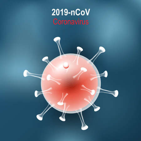 Coronavirus disease. Virion of COVID-19 on blue background. vector illustration. Under the microscope. MERS-Cov. Novel coronavirus