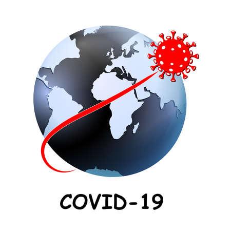 Coronavirus. virus flying over the World map designed as an Earth globe. covid-19. 2019 nCoV pandemic over globe. Icon Novel Coronavirus. Concepts. Isolated Vector Icon.