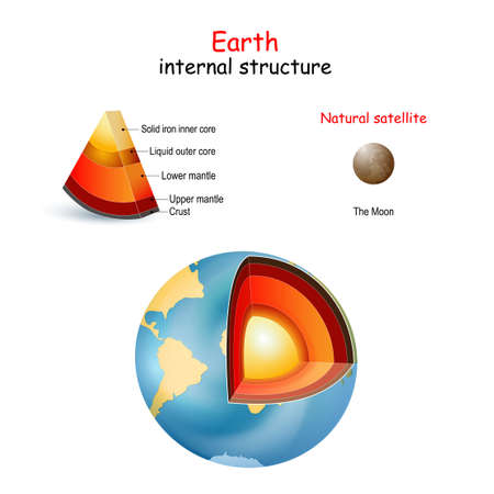 Earth internal structure. cross section of planets from core to mantle and crust. The Moon is only natural satellite. Solar system.  Interior of Terrestrial. vector. Easy to edit
