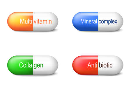 Capsules with collagen, antibiotic, multivitamin and mineral complex. Pharmacy. Set icons. Collection. Vector illustration for your design. Easy to edit
