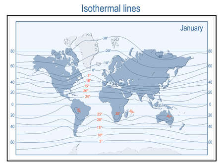 Isotherm. World Map with continents, Isothermal Lines, and physical temperature zones in January in degrees Celsius. Vector Ilustração