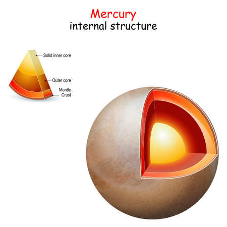 Mercury internal structure. cross section of planet from core to mantle and crust. Solar system. infographics. vector diagram. Easy to edit