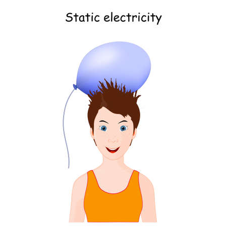 Static Electricity and human hair. Cute little girl with balloon doing electrostatic experiment. School lesson experiment. vector illustration for educational use
