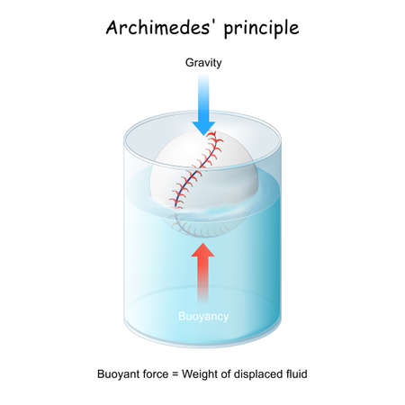 Buoyancy and Archimedes' principle. ball floating in a glass. Experiment in physics lesson. vector diagram