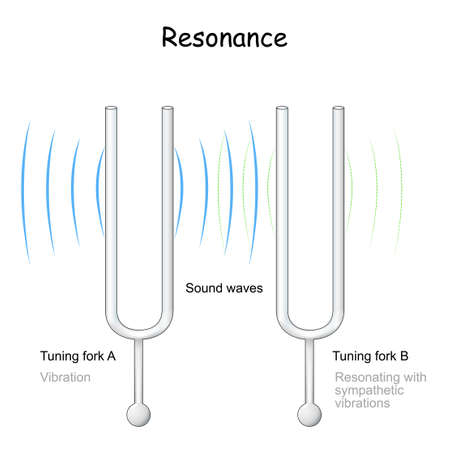 resonance. tuning fork which reflects the vibration. When one tuning fork is struck, the other tuning fork will also vibrate in resonance. Vector illustration Vecteurs
