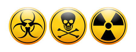 international symbols (icon) for biohazard, toxicity, and radioactivity. Types chemical substance (mixture), or of ionizing radiation that poses a threat to the health of living organisms, and unsafe for unshielded humans Illustration