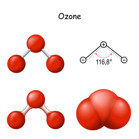 Ozone. Structural Chemical Formula and Molecule Model of O3. Chemistry. Poster for Education. Set icons. Vector