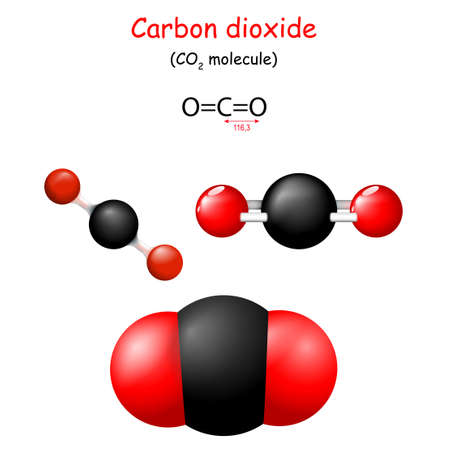 Carbon dioxide. Structural Chemical Formula of CO2. Molecule Model. Chemistry. Poster for Education. Set icons. Vector 矢量图像