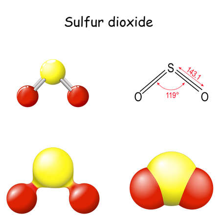 Sulfur dioxide molecule. Structural Chemical Formula of sulfur dioxide. SO2 Molecular Model. toxic gas that released by volcanic activity. Chemistry. Poster for Education. Set icons. Vector