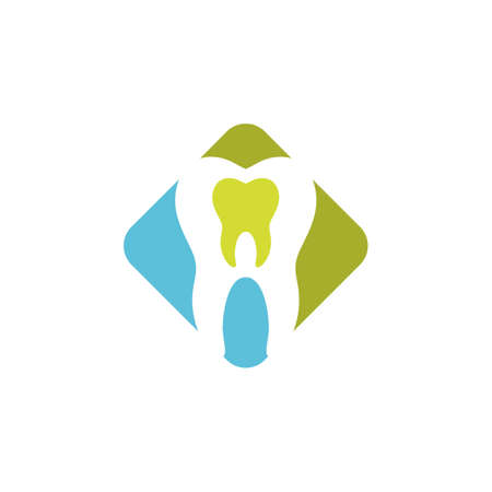 Tooth dental sign square colored icon. Illustration