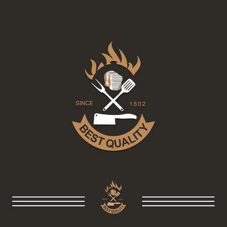 best quality meet grill restaurant vintage icon.