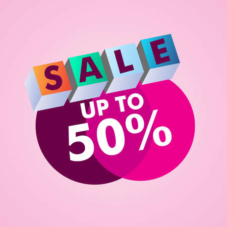 Sale up to 50 discount promotion template illustration. Illustration