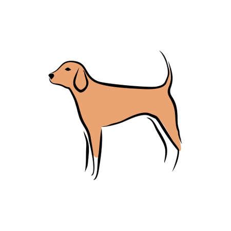 Hand drawn dog vector icon. Vector illustration design.