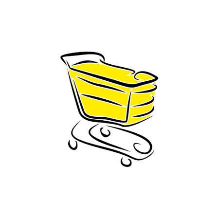 shopping cart hand drawn vector logo Illustration