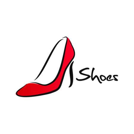 Red high heel women shoe vector image