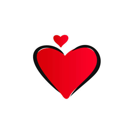 Red heart Icon isolated on white vector Illustration