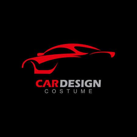 Car auto design abstract vector icon illustration on black background. Illustration
