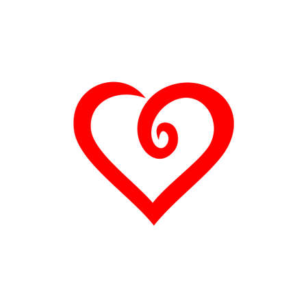 love heart swirl logo Illustration