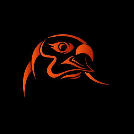 eagle vogel tribal symbool op zwarte achtergrond Stock Illustratie