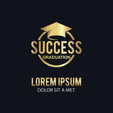Logotipo de éxito de la educación de oro
