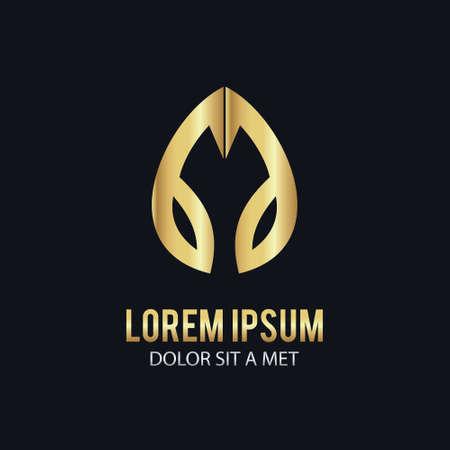 Gold leaf vector icon illustration on black background.