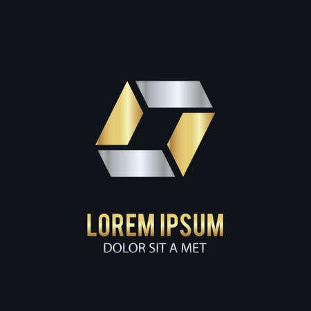 square shape gold company logo Illusztráció
