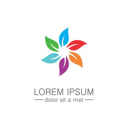 Leaf circle colorful logo Illustration