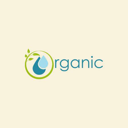 organic leaf water vector logo