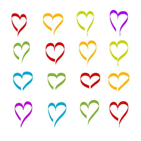 love heart colorful set logo