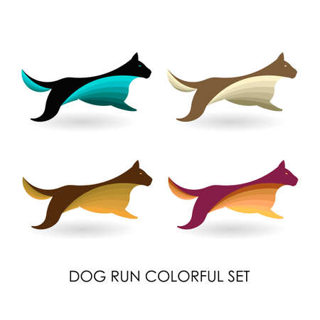 dog run colorful set vector logo