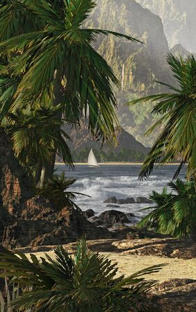 A tropical scene of Kauai's coastline with sailboat and palm trees.