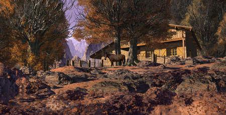 Fall season mountain retreat with horse. Stock Photo