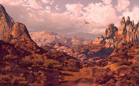 Falcon soaring above a Utah landscape.