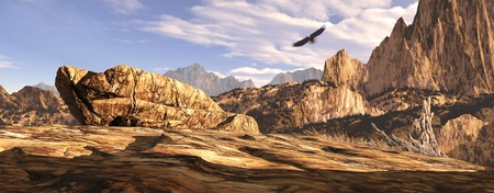 Bald eagle soaring above a Southwest landscape. Stock Photo