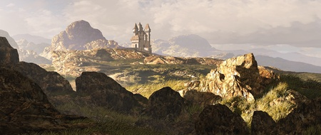 fantasy castle: A distance medieval castle among the Scottish mountain Highlands.  Stock Photo