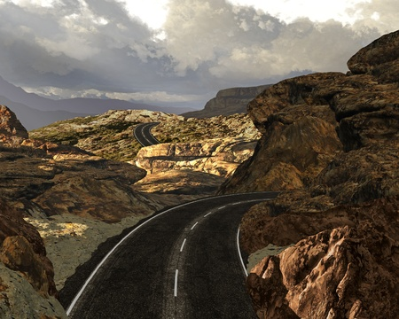 A highway scene in a rocky area in the Canyonlands of Utah.