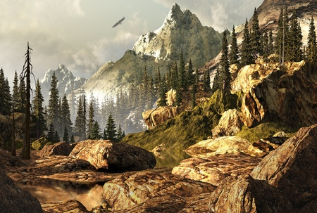 soar: Escena de las monta�as rocosas con �guila calva, alza en la distancia de lejos. Foto de archivo