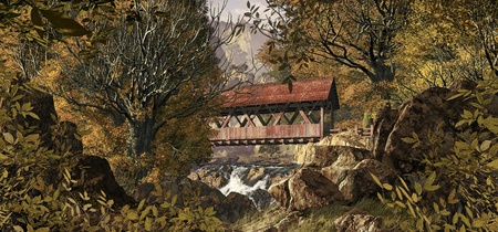 covered bridge: An old covered bridge in the countryside in the fall season.  Stock Photo