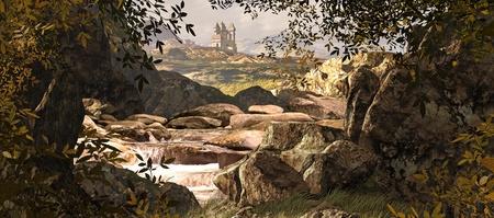 Een County Kerry Ierland landschap met stream en middeleeuws kasteel in de verre afstanden.  Stockfoto - 9013451