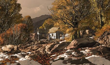 A countryside cottage fall scene with patches of snow.