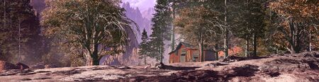 Miner's mountain shack in a forest landscape. Stock Photo