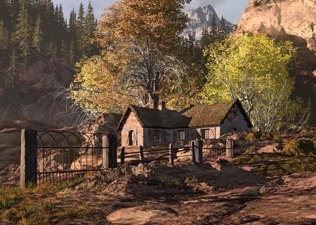 cottage: Una escena de la ca�da de una caba�a en las monta�as rocosas con valla y antigua puerta de metal.