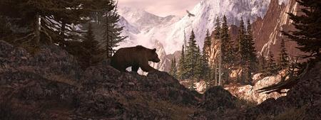 grizzly: Silhouette grizzli surplombant un canyon de rocky mountain avec soaring falcon.