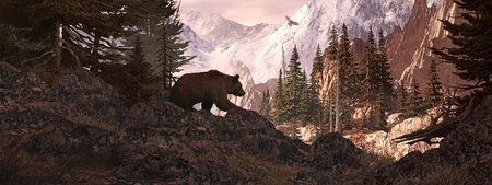 Silhouetted grizzly bear overlooking a rocky mountain canyon with soaring falcon.