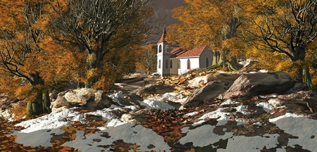 A little country church in the fall season with patches of snow.