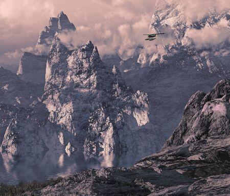 Aircraft with pontoons flying through an Alaskan mountain gorge.