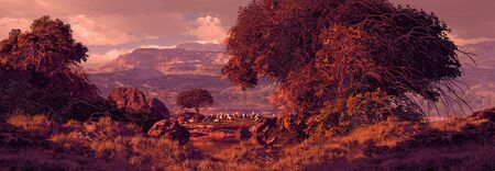 A countryside fall scene landscape with sheep grazing off in the distances.  Stock Photo