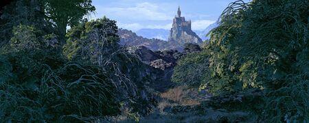 castello medievale: Una scena di bosco paese con castello fuori in lontananza.