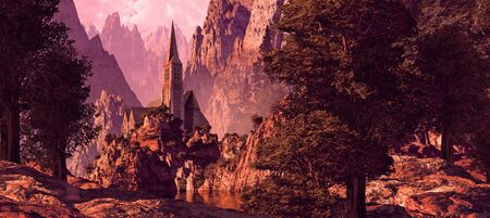 Church in a canyon near a lake with rock formations brought out by the early morning sun light. Stock Photo