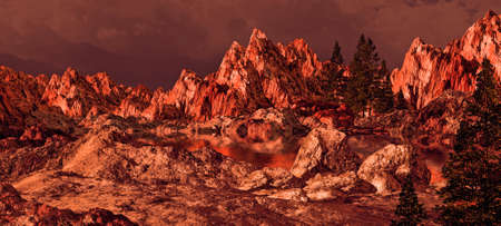 Alpenglow on a Sierra Nevada mountain lake landscape.  Stock Photo